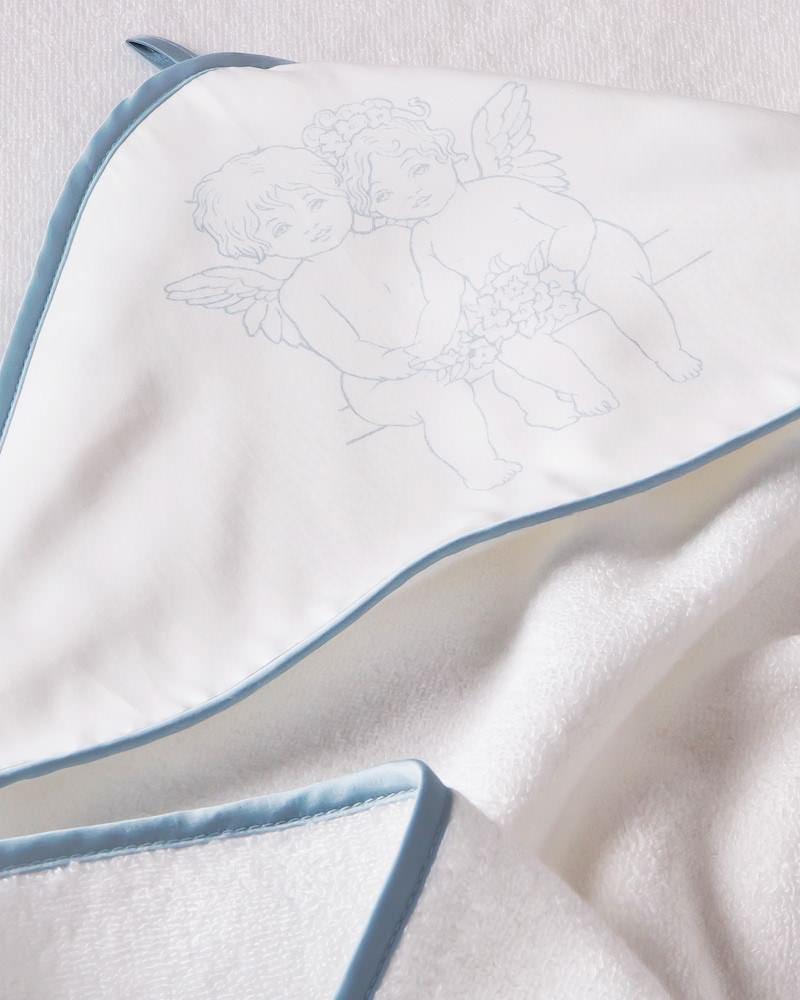 Банный комплект Angel Love Blu Angel Love Blu, махровый уголок и полотенца - fioridivenezia.ru
