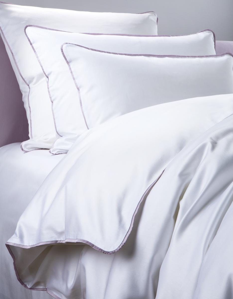 Постельное белье - модель Carmini - цвет Incenso/сирень - состав египетский хлопок 100% - производство Италия