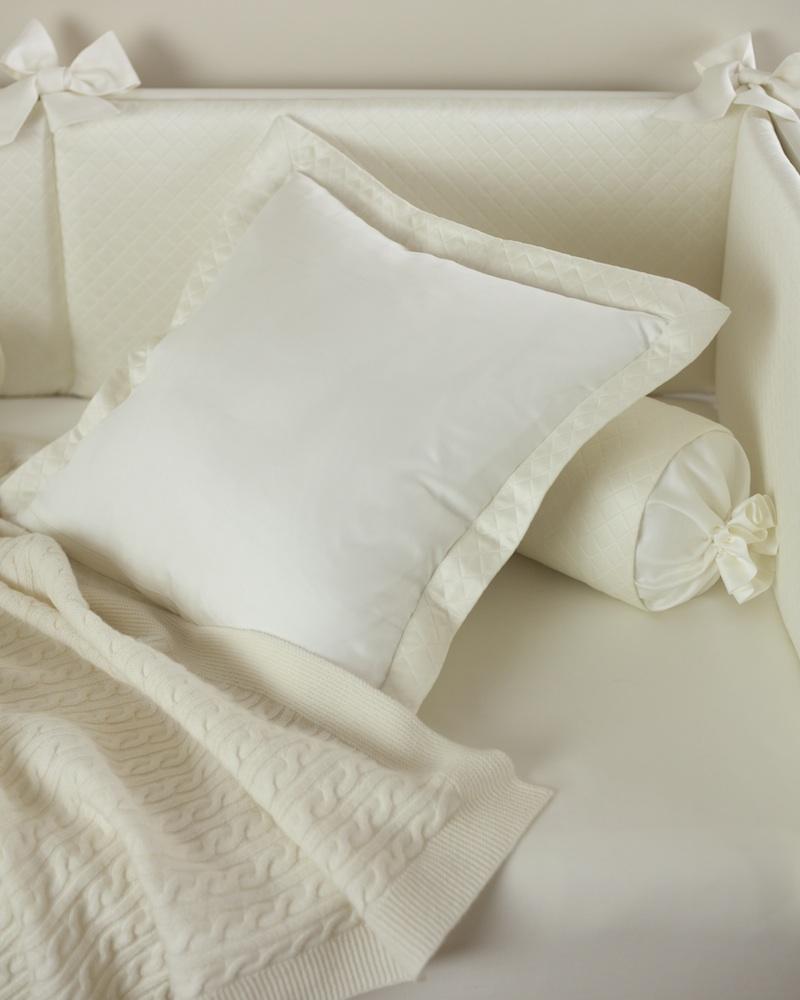 Декоративная подушка с вышивкой и валик Solo Avorio - fioridivenezia.ru