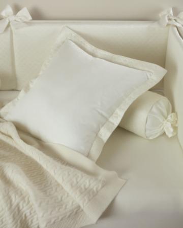 Декоративная подушка с вышивкой и валик Solo Avorio