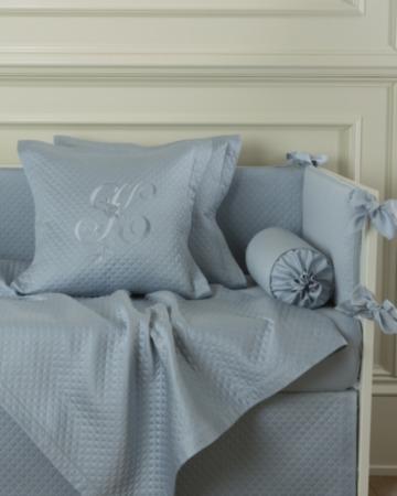 Декоративная подушка с вышивкой и валик Solo Blu